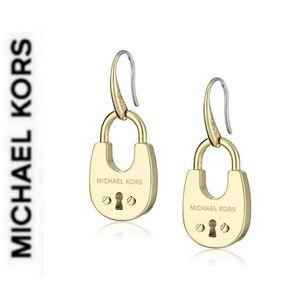 NWT authentic MK gold tone padlock drop earrings